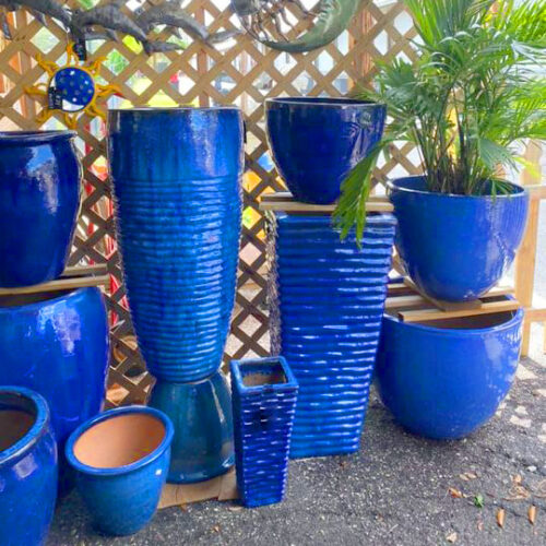 Ethans Courtyard and Patio | Blue Glazed Outdoor Pots