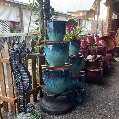 Ethans Courtyard and Patio | Large Blue Glazed Ceramic Planters | Bonita Springs | Water Fountains, Wall Fountains, Mailboxes, and more