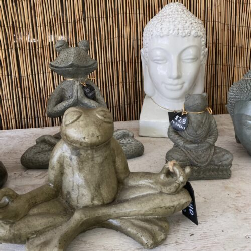 Ethans Courtyard and Patio | Small Frog Statues and White Buddha Statue | Bonita Springs | Water Fountains, Wall Fountains, Mailboxes, and more
