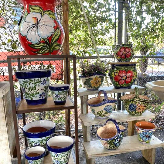 Ethans Courtyard and Patio | Mexican Painted Flower Pots