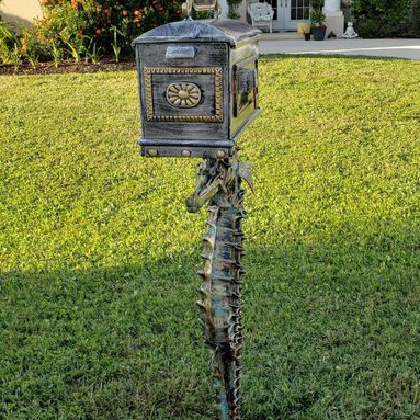 Ethans Courtyard and Patio | Seahorse Mailbox Statue | Bonita Springs | Water Fountains, Wall Fountains, Mailboxes, and more