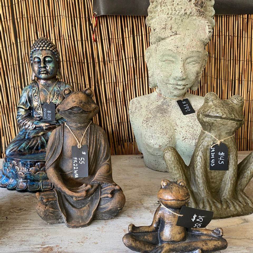Ethans Courtyard and Patio | White Buddha Statue | Bonita Springs Outdoor decor Store | Water Fountains, Wall Fountains, Mailboxes, and more